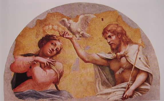 Particolare della cupola: La Vergine incoronata da Cristo