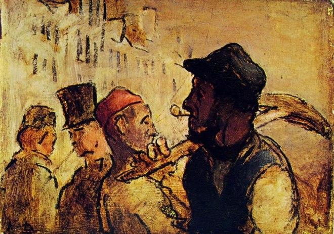 Honoré Daumier: Passanti in una via di Parigi