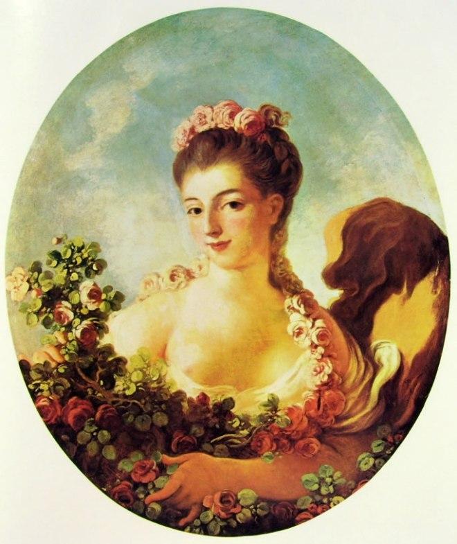 Jean-Honoré Fragonard: Adeline Colombe cinta di fiori