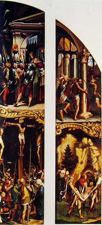Hans Holbein il Giovane : Presentazione a Caifa e Crocifissione - Flagellazione e Seppellimento
