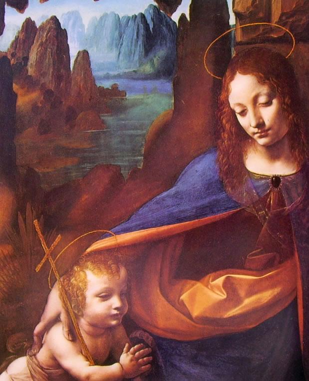 Leonardo da Vinci: La Vergine delle rocce (particolare)