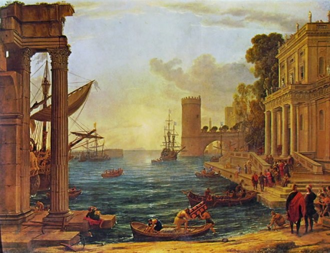 Lorrain (Claude Gellée): Porto con l'imbarco della regina di Saba