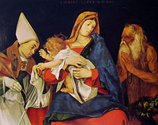 Lorenzo Lotto: Madonna col bambino un Santo vescovo e Sant'Onofrio