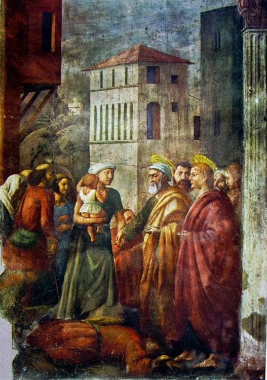 Masaccio: Cappella Brancacci: la distribuzione dei beni e la morte di Anania