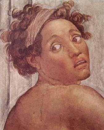 Michelangelo - Volta della Cappella Sistina, particolare di un Ignudo