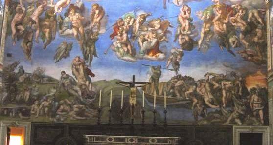 Michelangelo - Giudizio Universale, Cappella Sistina Vaticano, parte bassa