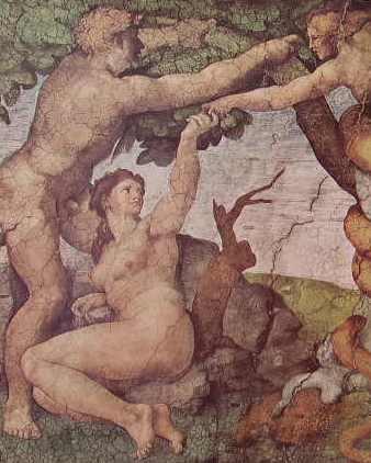 Michelangelo - Volta della Cappella Sistina, particolare del Peccato Originale