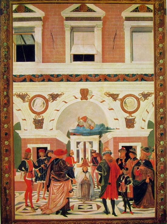 """Il Perugino: """"Storie di San Bernardino"""" Risanamento del cieco e sordomuto Riccardo Micuzio dall'Aquila"""