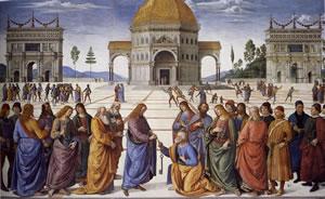 Il Perugino: Dipinti della Cappella Sistina - Consegna delle chiavi a San Pietro