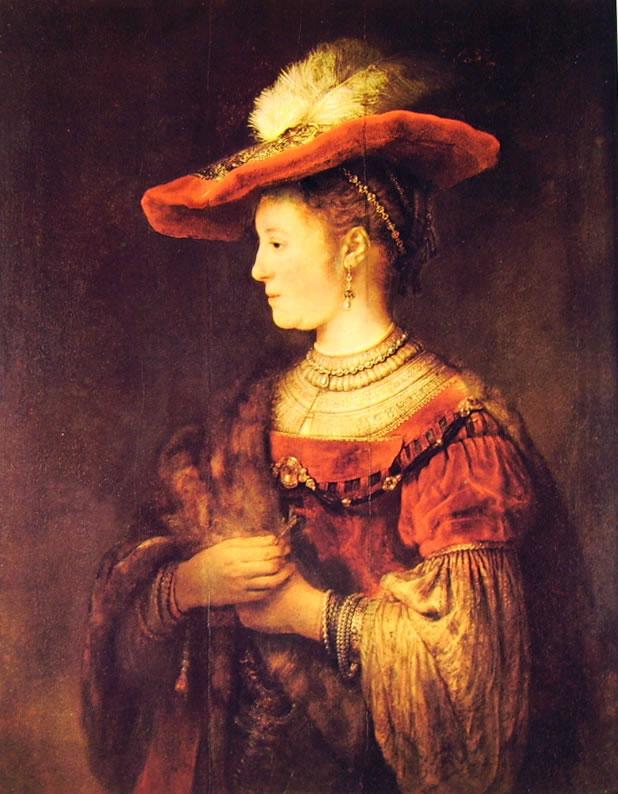 Rembrandt Harmenszoon Van Rijn: Ritratto di Saskia con cappello