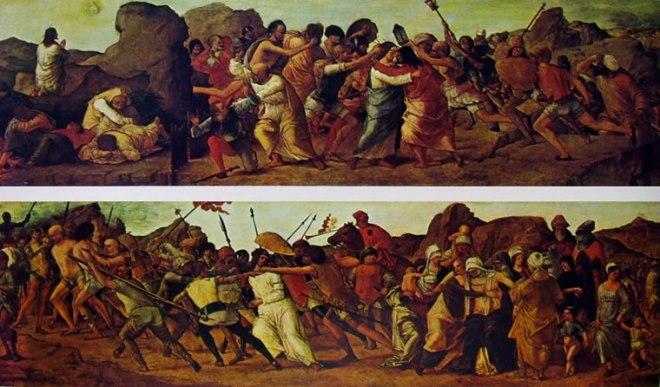 Ercole de Roberti: Predella con storie di Cristo - L'orazione nell'orto e la caduta di Cristo - La salita al Calvario