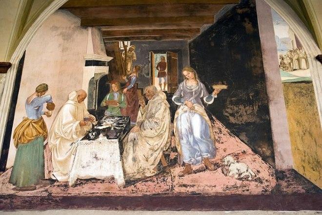 San Benedetto rimprovera due monaci che avevano violato la Regola mangiando in una locanda