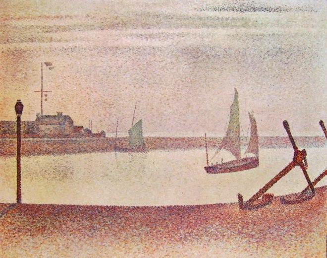 Georges-Pierre Seurat: Il canale di Gravelines di sera