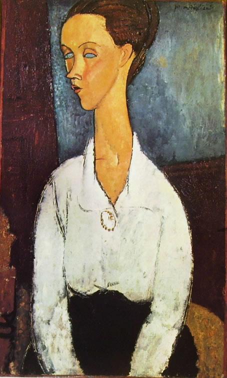 Amedeo Modigliani: Lunia Czechowska con la camicetta bianca