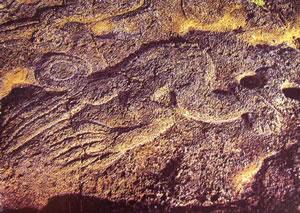 Glifo di uomo-uccello su pietra, Cultura litica che durerà fino al Medioevo (Isola di Pasqua)