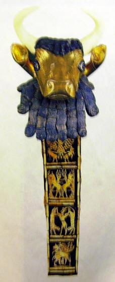 Frammento ligneo dorato ed intarsiato di arpa, 2600 a.C. rinvenuto ad Ur