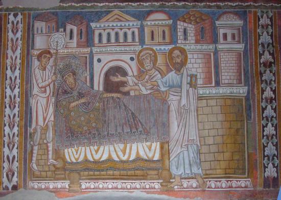 Particolare delle Storie di Costantino e Silvestro: Costantino che sogna i santi Pietro e Paolo