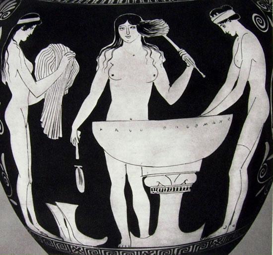 """""""Gruppo di Polignoto"""": Particolare dello stamno: Toilette di donne (MOnaco)Stamno"""