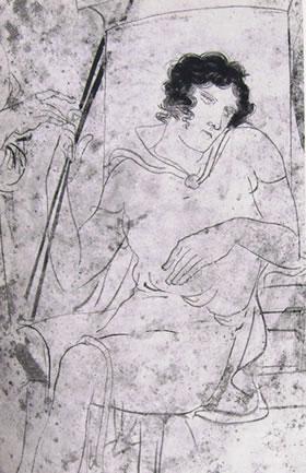 Pittore del Canneto: Lekythos con giovane uomo sofferente (Atene, Museo Nazionale)