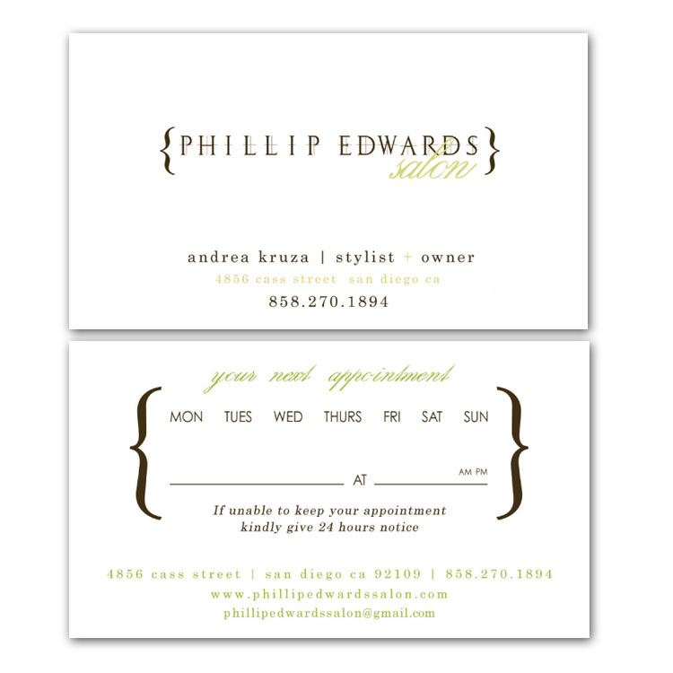 Business Card Design - Franchise Print Shop - San Diego - sample appointment card template