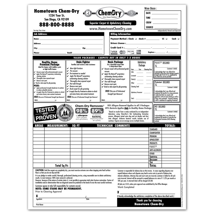 Chem-Dry Printing Invoices / Work Orders - Franchise Print Shop - printed invoices