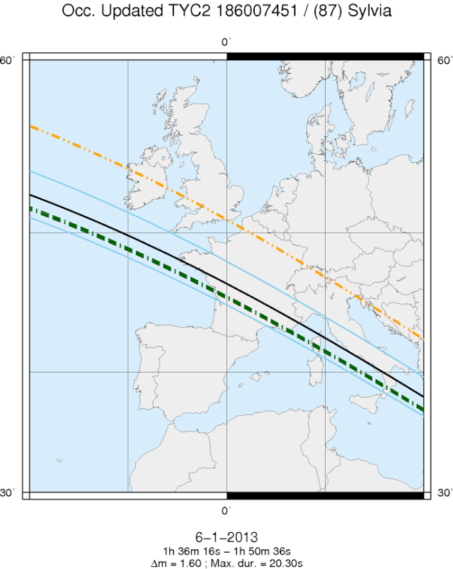 map of the path of the occultation on January 6, 2013, across Europe. The blue lines indicate the limit of the path by the primary asteroid Sylvia (centered on the black line). The green and orange lines correspond to the paths of Romulus and Remus, respectively. (credit IMCCE)