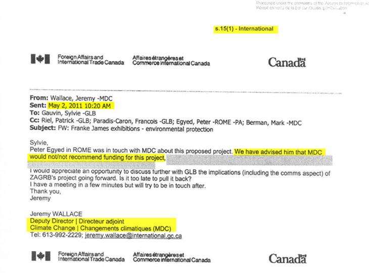 Canada\u0027s Climate Change office secretly killed approval for Franke