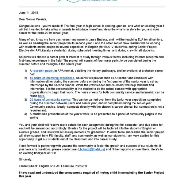 12th Grade - Senior Project Letter to Parents, 2018-2019 Franklin