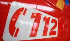 20100211 - ZAVENTEM, BELGIUM: Illustration picture shows a large sign with '112' on a fire fighter truck, at the inauguration of the new single emergency call number '112', ath the Fire Fighter station, in Zaventem, Thursday 11 February 2010.  BELGA PHOTO JULIEN WARNAND