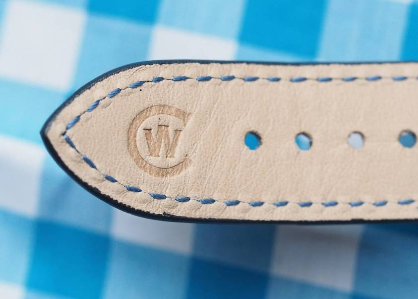 A nicely embossed logo on the underside of the strap of the Christopher Ward C9 Moonphase