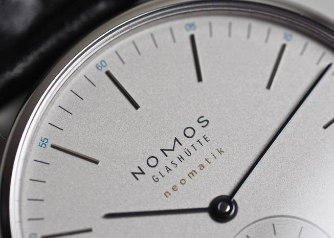 A gorgeous silver dial on the Nomos Neomatik Orion