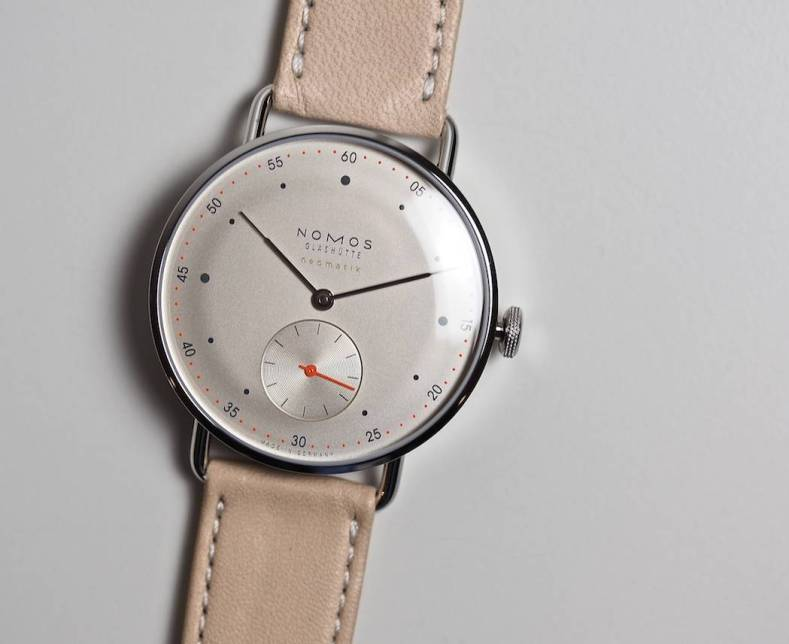 The champagne dial version of the Nomos Neomatik Metro
