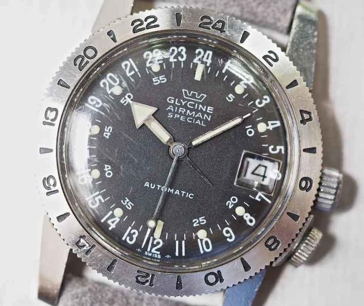 """The Glycine Airman dial is busy yet simple - and the """"tail"""" on the hour hand make 12-hour time format reading a breeze"""