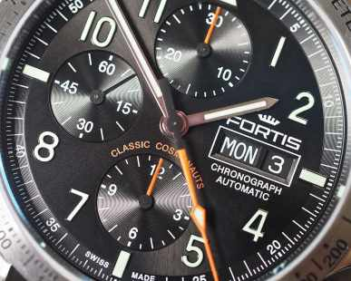 A close up of the Fortis Classic Cosmonauts dial