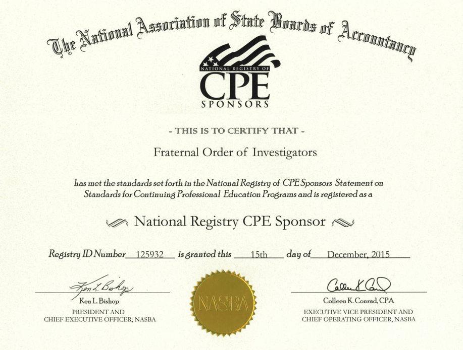 Fraternal Order of Investigators certificate - NASBA - National - cpe certificate template