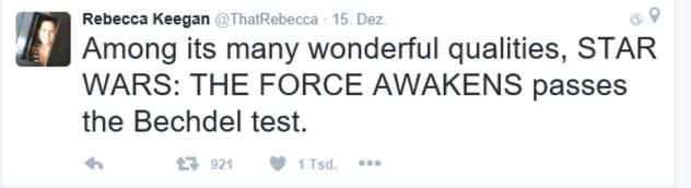 """""""Star Wars: Der Film habe - neben seinen vielen anderen Qualitäten - den Test bestanden."""" Quelle: Rebecca Keegan."""
