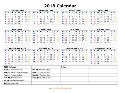 Printable Yearly Calendar 2018 Free-calendar-template - yearly calendar