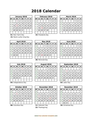 Printable Yearly Calendar 2018 Free-calendar-template