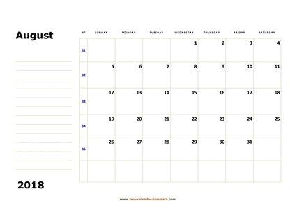 August 2018 Free Calendar Tempplate Free-calendar-template