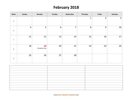 Simple February Calendar 2018 large box on each day for notes