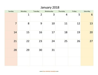 January 2018 Calendar Printable with coloring on weekend (horizontal