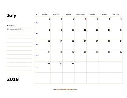 July 2018 Free Calendar Tempplate Free-calendar-template - free calendar template
