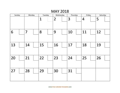 May 2018 Free Calendar Tempplate Free-calendar-template