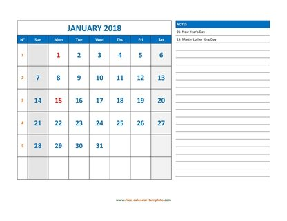 Monthly 2018 Calendar designed with large font (horizontal) Free