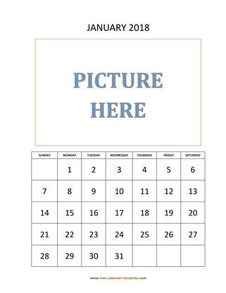 2018 Monthly Calendar (Blank Vertical Template) Free-calendar