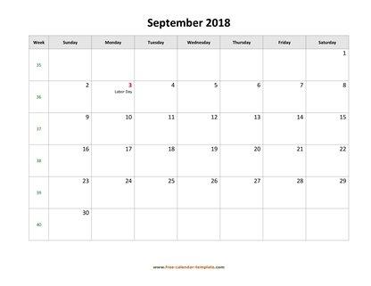 September 2018 Free Calendar Tempplate Free-calendar-template