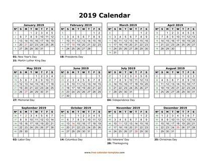 Printable Yearly Calendar 2019 Free-calendar-template