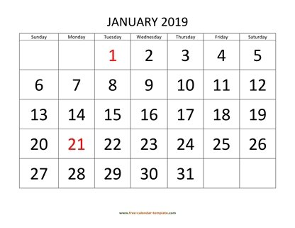 Printable Monthly Calendar 2019 Free-calendar-template - monthly calendar templates