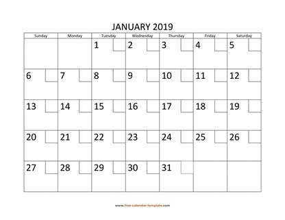 Printable Monthly Calendar 2019 Free-calendar-template