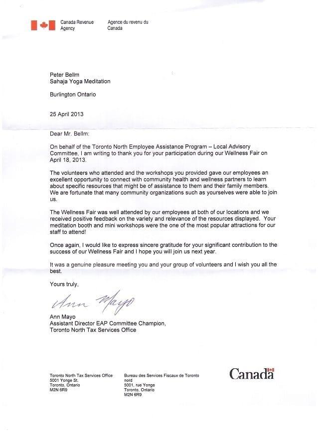 Canada Revenue Agency Thank You Letter for Sahaja Yoga Meditation - thank you note to employee